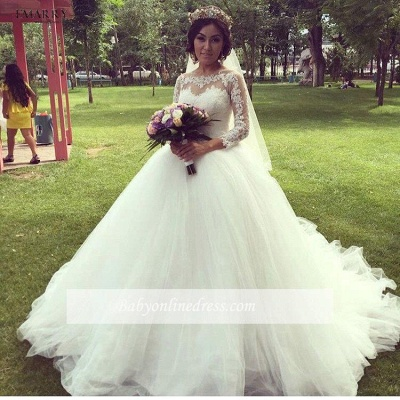 White Wedding Dresses Long Sleeves With Lace Tulle A Line Bridal Wedding Gowns_1