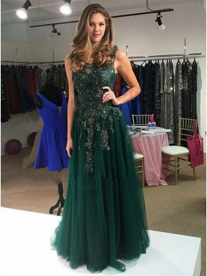 Dark Green Evening Dresses Long With Lace Sheath Dresses Prom Dresses Online_1