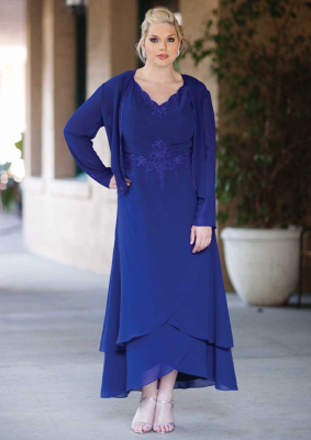 Elegant Royal Blue Mother of the Bride Dresses With Jacket Chiffon Dresses For Wedding_1