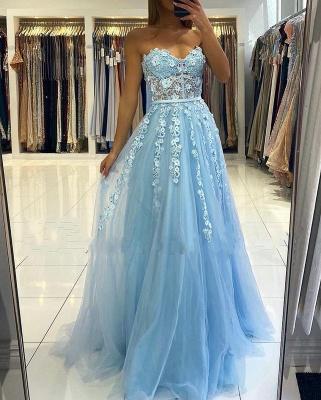 Abendkleider Blau | Abiballkleider Lang Günstig Online_5