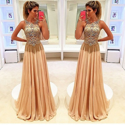 Gold Long Evening Dresses Chiffon Beaded Straps Floor Length Evening Wear Prom Dresses Cheap_3