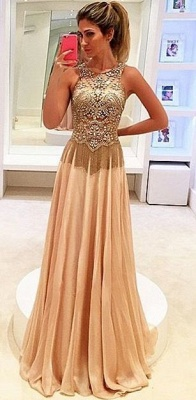 Gold Long Evening Dresses Chiffon Beaded Straps Floor Length Evening Wear Prom Dresses Cheap_2