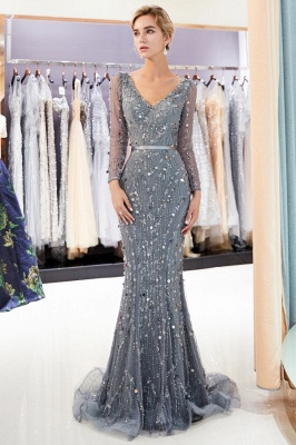 Silver Prom Dresses Long With Sleeves Beaded Prom Dresses Online_3