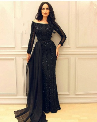 Evening dresses long black | Cheap evening dress with sleeves online_1