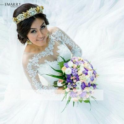Weiß Brautkleider Lang Ärmel Mit Spitze Tüll A Linie Brautmoden Hochzeitskleider_2