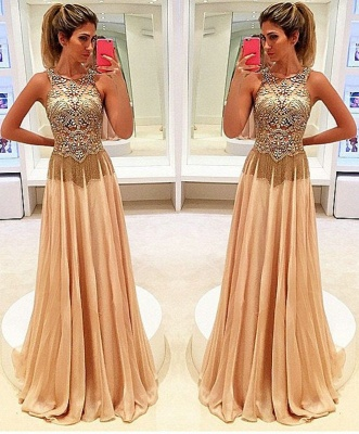 Gold Long Evening Dresses Chiffon Beaded Straps Floor Length Evening Wear Prom Dresses Cheap_1