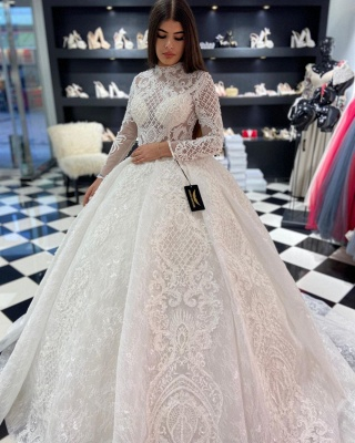 Modern wedding dresses with sleeves | Lace wedding dresses princess_1