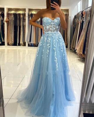 Abendkleider Blau | Abiballkleider Lang Günstig Online_4
