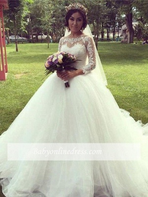 White Wedding Dresses Long Sleeves With Lace Tulle A Line Bridal Wedding Gowns_4
