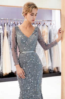 Silver Prom Dresses Long With Sleeves Beaded Prom Dresses Online_5