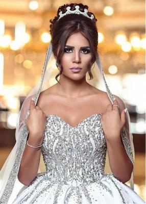 Luxury Brautkleid mit Langer Schleppe Prinzessin Kristal Weiße Hochzeitskleider Online_3