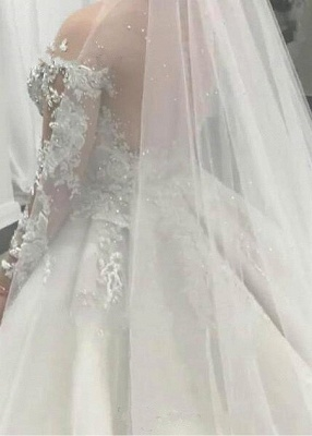 Elegant wedding dresses with sleeves | Wedding dresses A line lace_2