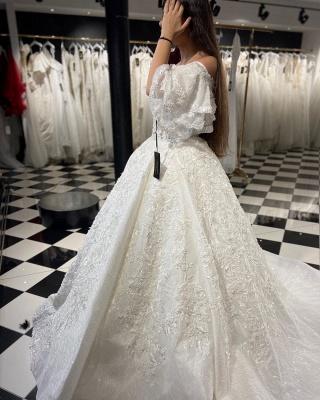 Designer wedding dresses A line | Lace wedding dresses online_2