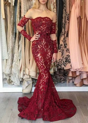 Elegant Wine Red Evening Dresses Long Lace With Sleeves Evening Wear Online_1