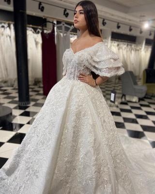 Designer wedding dresses A line | Lace wedding dresses online_1