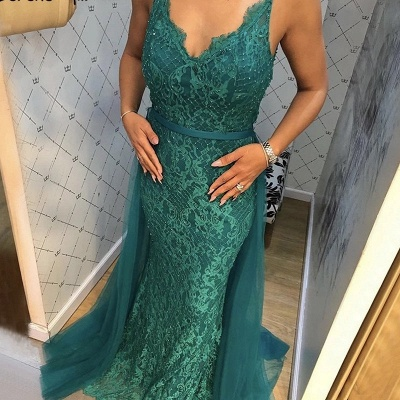 Beautiful Evening Dresses Long Green Lace Evening Wear Prom Dresses Online_1
