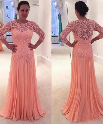 Sexy Coral Brautmutterkleider Mit Spitze Ärmel Chiffon kleider Für Brautmutter_1