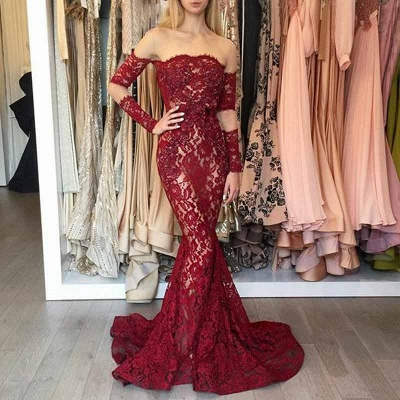 Elegant Wine Red Evening Dresses Long Lace With Sleeves Evening Wear Online_2