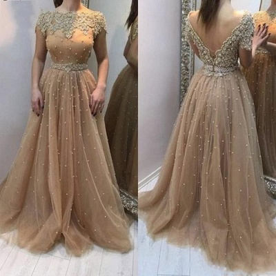 Elegant Evening Dresses Long Gold | Evening wear with lace_2