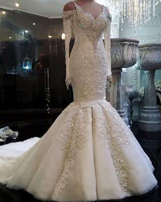 Fashion Weiß Brautkleider Mit Ärmel Perlen Bodenlang Hochzeitskleider Online_2