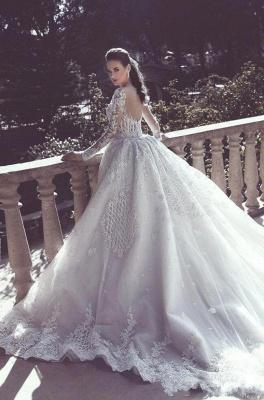 Luxus Weiße Brautkleider Mit Ärmel Spitze A Linie Hochzeitskleider Online Günstig_2