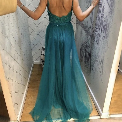 Beautiful Evening Dresses Long Green Lace Evening Wear Prom Dresses Online_2