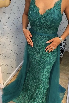 Beautiful Evening Dresses Long Green Lace Evening Wear Prom Dresses Online_3
