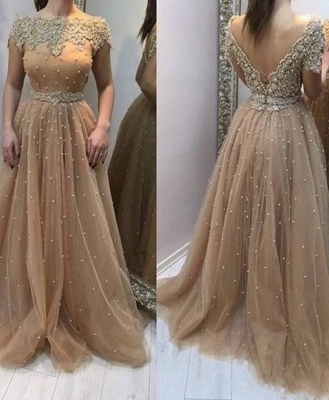 Elegant Evening Dresses Long Gold | Evening wear with lace_1