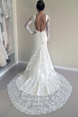 Günstig Weiße Hochzeitskleider Spitze Günstig Meerjungfrau Brautkleider Online Kaufen_4