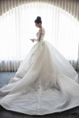Designer White Wedding Dresses Lace With Sleeves A Line Wedding Dresses Cheap_4