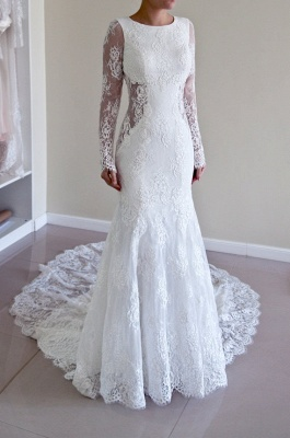 Günstig Weiße Hochzeitskleider Spitze Günstig Meerjungfrau Brautkleider Online Kaufen_1