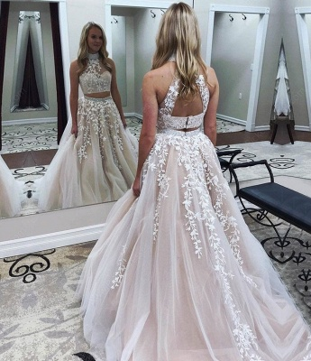 Elegant evening dresses long white cheap 2 pieces lace evening wear online_2