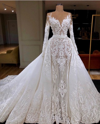 Modern wedding dresses with sleeves white a line wedding dresses cheap_1