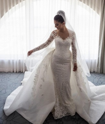 Designer White Wedding Dresses Lace With Sleeves A Line Wedding Dresses Cheap_2