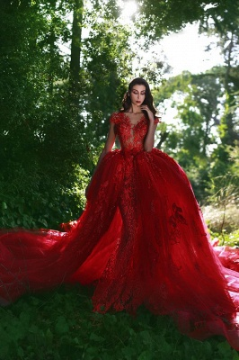 Elegant Red Evening Dresses Long Me Lace Cheap Tulle Evening Wear Prom Dresses_1