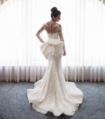 Designer White Wedding Dresses Lace With Sleeves A Line Wedding Dresses Cheap_5