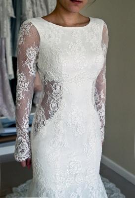 Günstig Weiße Hochzeitskleider Spitze Günstig Meerjungfrau Brautkleider Online Kaufen_2