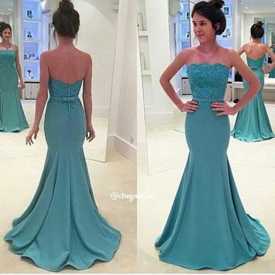 Green Long Evening Dresses With Lace Mermaid Heart Floor Length Prom Dresses_2