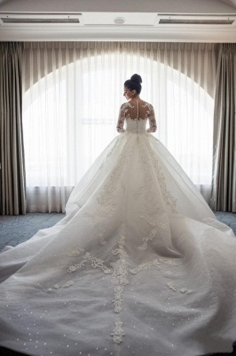 Designer White Wedding Dresses Lace With Sleeves A Line Wedding Dresses Cheap_3