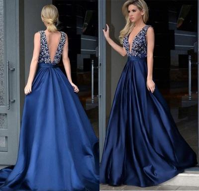 Blaue Abendkleider Lang v Ausschnitt | Abendmoden Rückenfrei Online_2