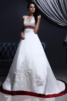Burgundy white wedding dresses with train a line wedding dresses wedding fashions_1