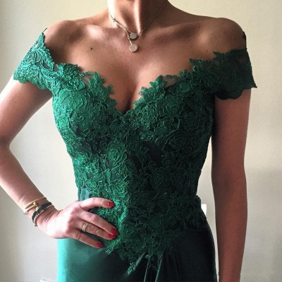 Turquoise Evening Dresses Long With Lace Off Shoulder Mermaid Evening Wear Party Dresses_2