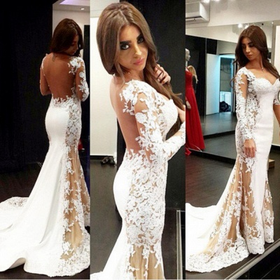 Long Sleeves Evening Dresses Lace Mermaid Backless Evening Wear Prom Dresses_2