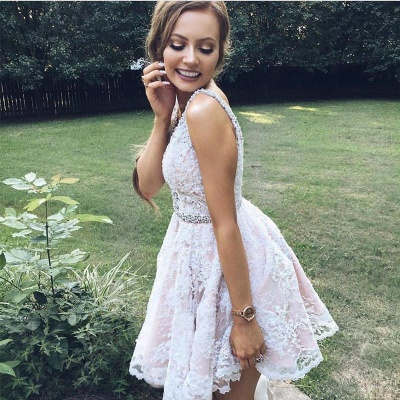 Cheap Cocktail Dresses Short Lace White Mini Evening Dresses Prom Dresses Online_2