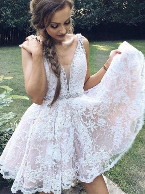Cheap Cocktail Dresses Short Lace White Mini Evening Dresses Prom Dresses Online_1