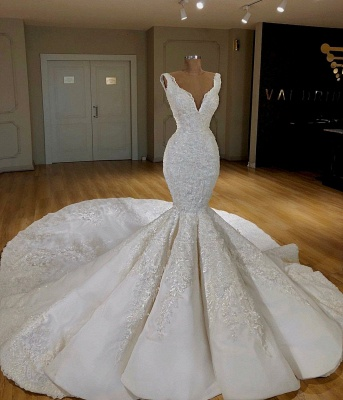 Designer wedding dresses white with lace mermaid wedding gowns cheap online_1