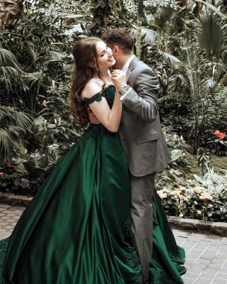 Günstige Grüne Abendkleider Lang Mit Spitze Prinzessin Bodenlang Abendmoden Online_3