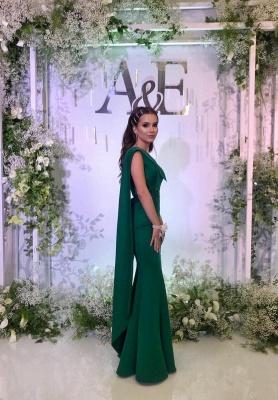 Simple evening dresses long cheap | Evening wear green online_1