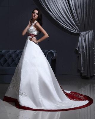 Burgundy white wedding dresses with train a line wedding dresses wedding fashions_2