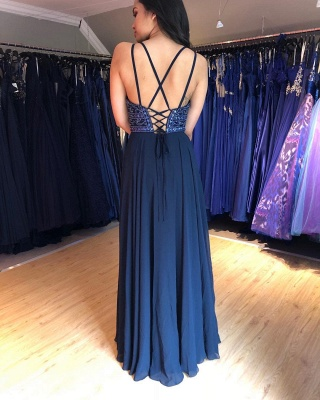 Sexy Evening Dresses Long Cheap | Chiffon dresses navy blue_2